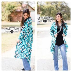 Sally Ride Duster. Turquoise & Black Aztec Duster